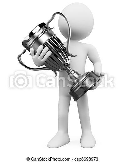 Hombre 3D con un trofeo de plata en las manos - csp8698973