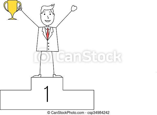 Hombre de dibujos animados con un trofeo - csp34984242