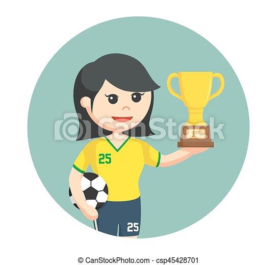 Una jugadora de fútbol con trofeos en círculos - csp45428701