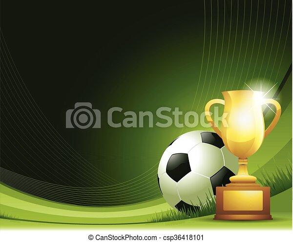 Trasfondo abstracto verde con bola y trofeo - csp36418101