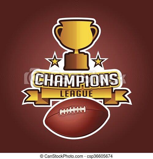 Trofeo de la Copa de Fútbol americano y cintas de pelota - csp36605674