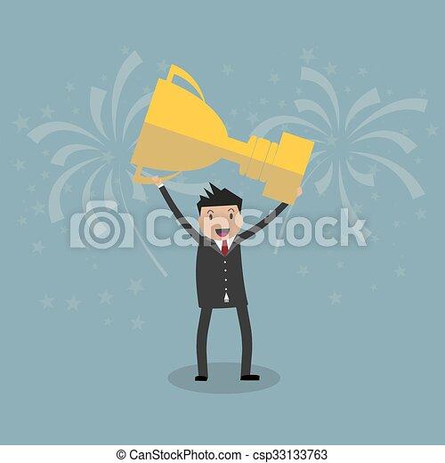 trofeo, uomo affari, presa a terra, vincente - csp33133763