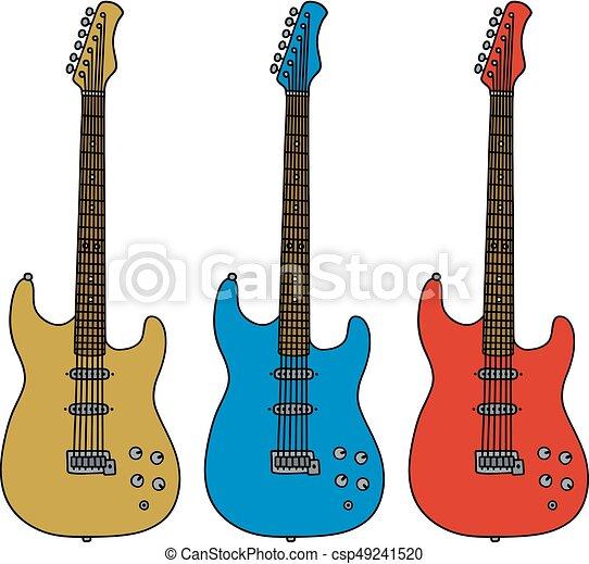 Trois Guitares Electrique Couleur Electrique Trois Main Guitares Dessin Canstock