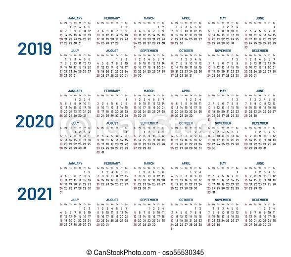 Trois, isolé, 2021, années, 2019, 2020, plat, calendrier. Trois