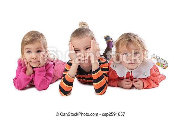 trois, mensonge, enfants - csp2591657