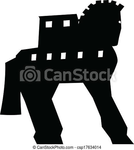 Trojan Horse silhouette vector  - csp17634014