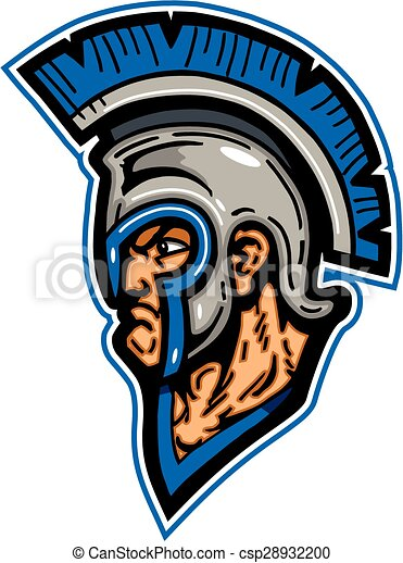 trojan mascot head wearing helmet with crest vector clipart search rh canstockphoto com Trojan Head Coloring Pages Trojan Head Mascot
