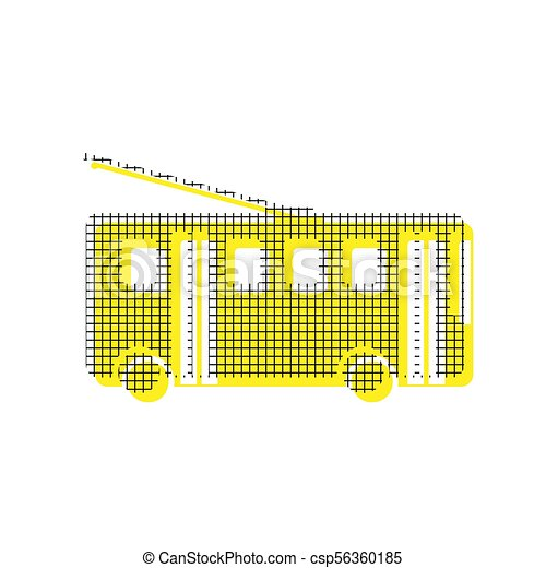 Trolleybus sign. Vector. Yellow icon with square pattern duplica - csp56360185