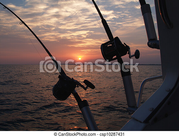 Trolling Fishing Poles Silhouetted  - csp10287431