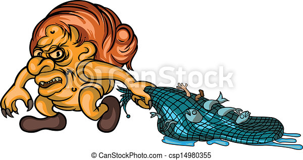 Trolls fishing horrid troll with fish in nets clipart for How to troll for fish