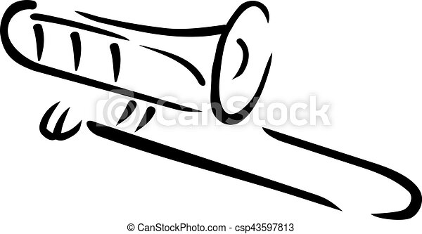 trombone caligraphy style rh canstockphoto com trombone images clipart trombone clip art free