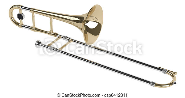 trombone isolated on white background rh canstockphoto com trombone pictures clip art Trumpet Clip Art