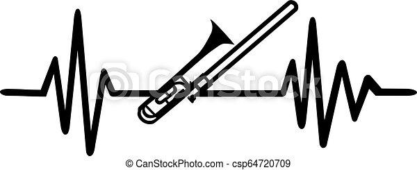 Trombone heartbeat line - csp64720709