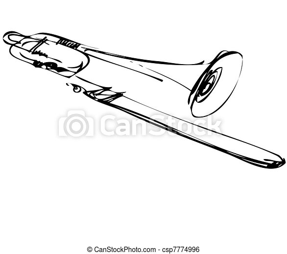 trombone, koper, schets, muzikaal instrument - csp7774996