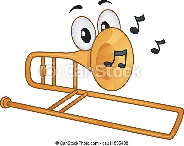 trombone mascot mascot illustration featuring musical notes rh canstockphoto com trombone images clipart Trombone Clip Art Black and White
