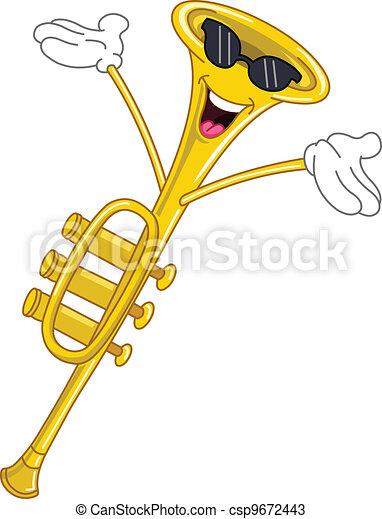 trompeta, caricatura - csp9672443