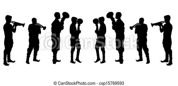Hombre tocando trompeta vector ilustraustra - csp15769593
