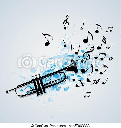 trompete, abstratos, música, fundo - csp57063333