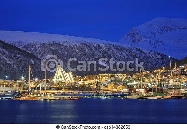 Tromso Cityscape at dusk - csp14382653