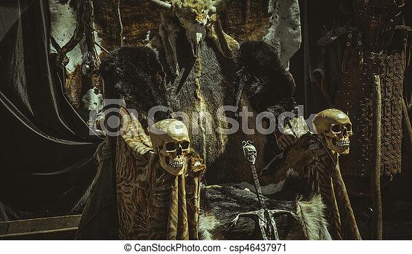 Tron Wiking Futra Skóry Sword Zwierzę Krzesło Czaszki