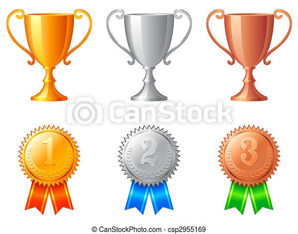 trophäe, tassen, medals. - csp2955169