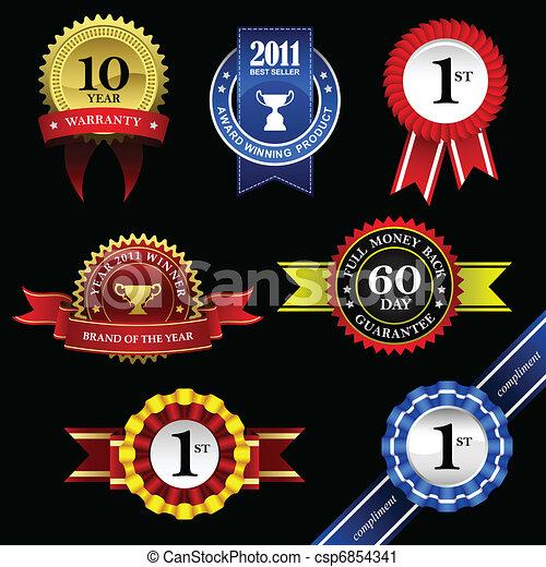trophée, écusson, ruban, récompense, cachet - csp6854341
