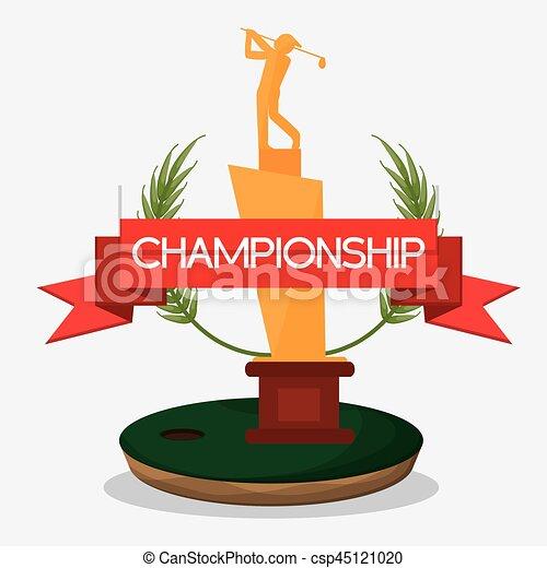 trophée, golf, championnat, bannière - csp45121020