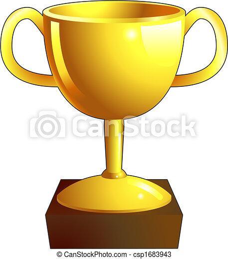 trophée, icône, or, illustration - csp1683943