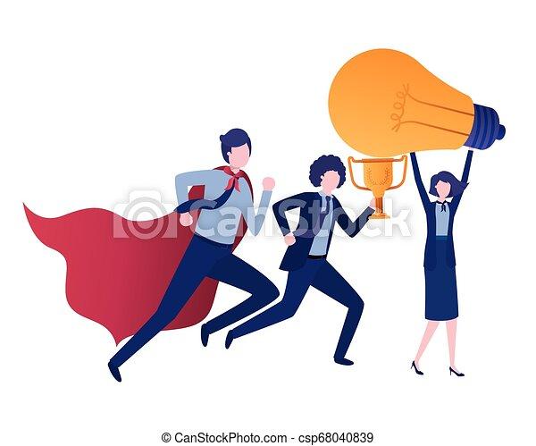 trophée, lumière, groupe, business, ampoule - csp68040839
