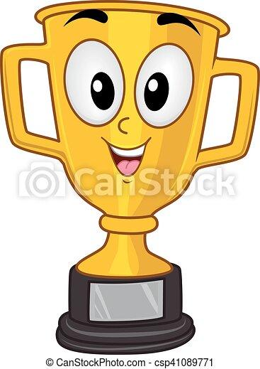 trophée, mascotte, championnat, tasse or - csp41089771