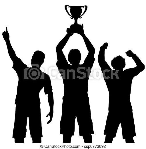 trophée, vainqueurs, victoire, célébrer, sports - csp0773892