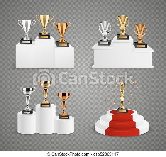 Trophies On Pedestals Realistic Design Set - csp52863117