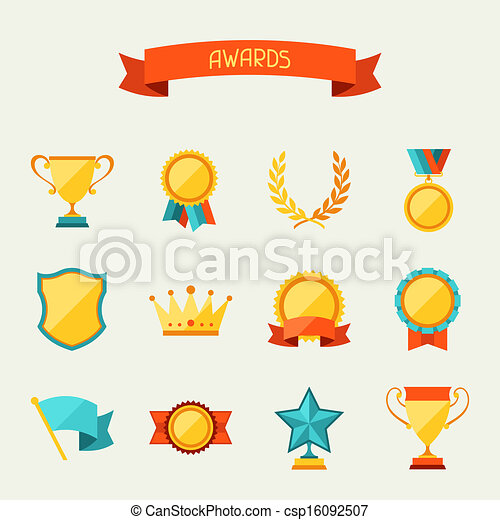 Trophy and awards icons set. - csp16092507