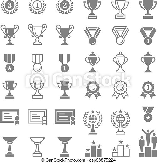 Trophy and awards vector icons set - csp38875224