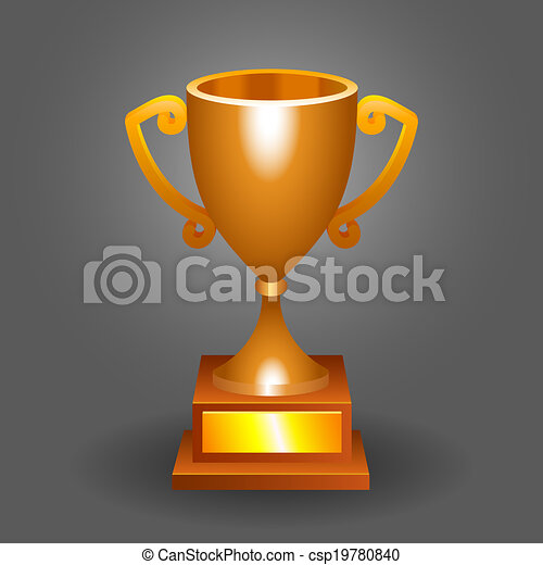 Trophy Bronze Cup On A Dark Background For Your Designs Eps Vector