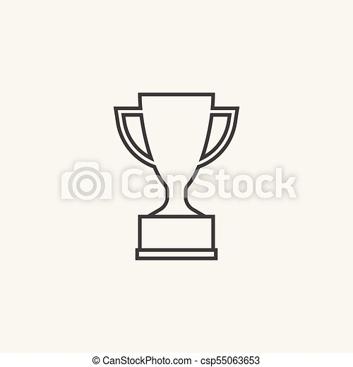 Trophy Cup Flat Vector Icon In Line Style Simple Winner Symbol Black Illustration Isolated On White Background