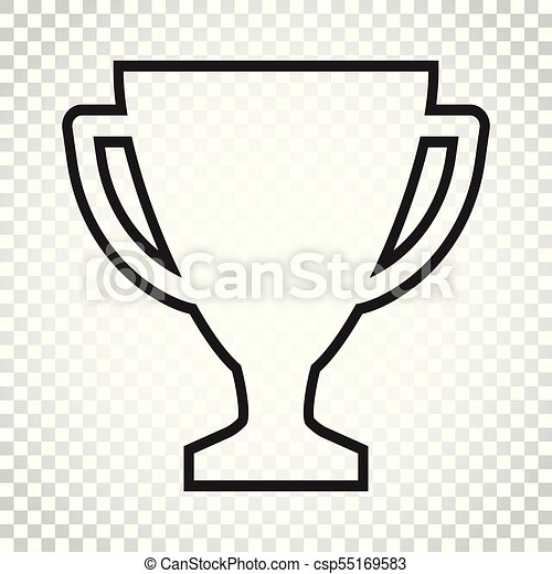 Trophy Cup Flat Vector Icon In Line Style Simple Winner Symbol Black Illustration On Isolated