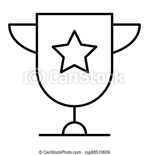 Trophy cup star with handles isolated on white background flat icon design. Gold champion cup. Award sign vector and illustration. - csp68510609