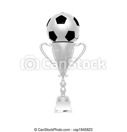 trophy cup with soccer ball isolated on a white - csp1845823