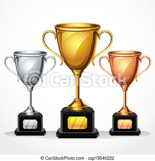 trophy cups set vector illustration vector illustration search rh canstockphoto com clipart trophy transparent clipart trophy