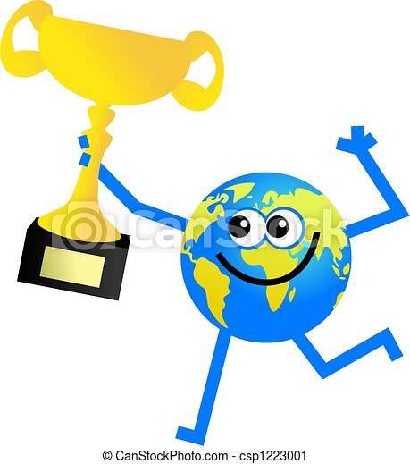 trophy globe cartoon globe man holding up a golden trophy Globe Vector Graphics Globe Vector Graphics