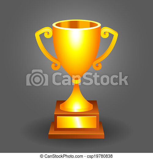 Trophy Gold Cup Bronze On A Dark Background For Your