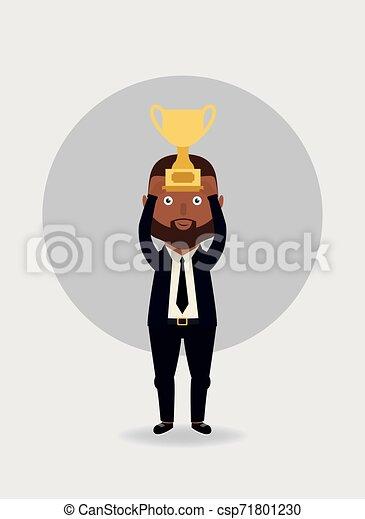 trophy., hombre de negocios, vector, illustration., tenencia - csp71801230