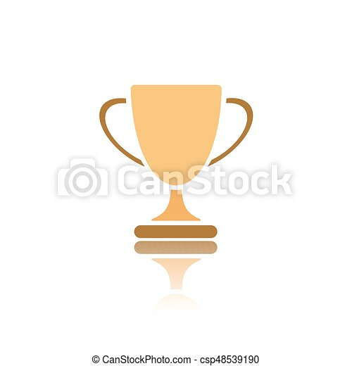 Trophy icon with reflection on white background - csp48539190