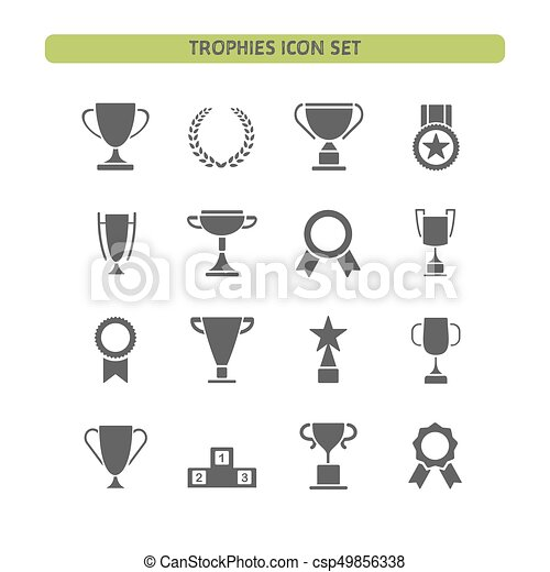 Trophy icons set on a white background - csp49856338