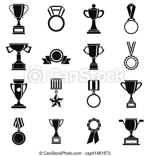 Trophy Icons Set Siple Style