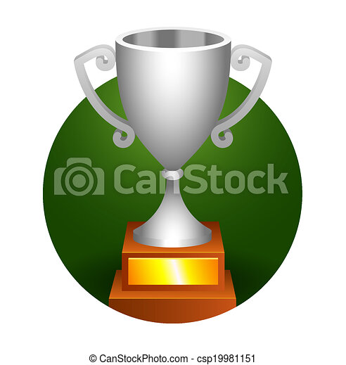 Trophy Silver Cup Bronze On A Green Background For Your