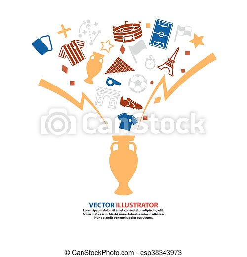 Trophy Soccer Abstract background  Football. Vector Illustration - csp38343973