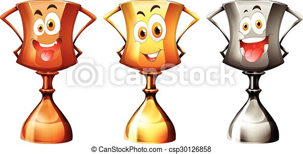 Trophy with happy face - csp30126858