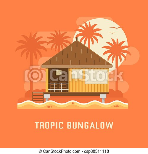 Tropic Bungalow House Summer Beach By Sunset Wooden